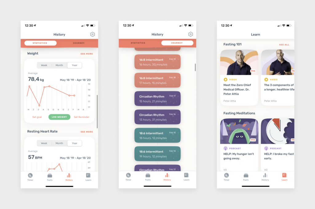 Screens for Zero's new profile view and knowledge base